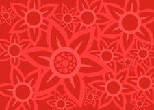 Flowers background. Pattern from red decorative flowers on a red background Stock Image
