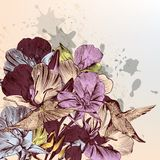 Flowers background with birds and hand drawn flowers in vintage Stock Photo