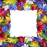 Flowers background, blank message banner with floral border, greeting card illustration Stock Images