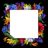 Flowers background, blank message banner with floral border, greeting card illustration. Ornate square message banner with floral border, mixed flowers Royalty Free Stock Photo