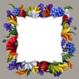 Flowers background, blank message banner with floral border, greeting card illustration Royalty Free Stock Images
