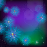 Flowers background. Blue flowers with stamens and highlights Stock Image