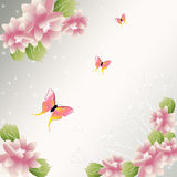 Flowers background with butterfly Stock Photo