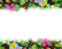 Flowers background. Background colorful flowers and leaves frame Stock Photography