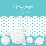 Flowers background with dotted center, paper origami blossoms Stock Photos
