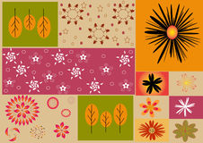 Flowers background. Draw a cute pattern with flowers and leaves There are bright colors as a background pattern Royalty Free Stock Images