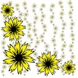 Flowers. Background - pattern or drawing, usually in the width of the page, placed at the top of the initial nPublishing pages or part thereof Royalty Free Stock Image