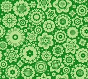 Flowers, background, seamless, green, vector. Stock Image