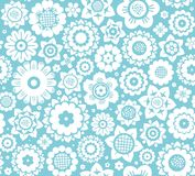 Flowers, background, seamless, white-blue, vector. Royalty Free Stock Images
