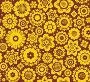 Flowers, background, seamless, yellow-brown, vector. Royalty Free Stock Photos