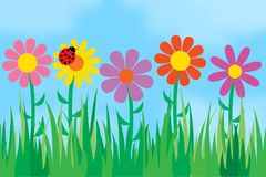 Flowers on the background of the sky. Vector illustration Stock Photo