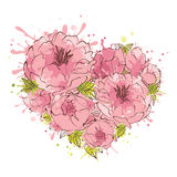 Flowers background on Valentines Day -- heart Royalty Free Stock Images