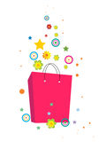 Flowers and bag. Flowers and shopping bag created in illustrator Stock Photography