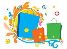 Flowers and bag. Flowers and shopping bag created in illustrator Stock Photo