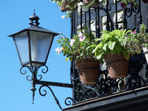Flowers in the balcony. Pots, lamppost and sky, Salamanca - Spain Stock Image