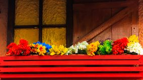 Flowers on a balcony. Diverse colors. Flowers on a balcony. Red, yellow, white, blue and green color petals Stock Images