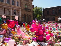 Flowers and Balloons for the victims of the Manchester Arena attack. Tributes at St Ann`s Square in Manchester for the victims of the terrorist attack on 22.5 Stock Images