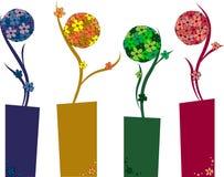 Flowers balls. Four flowers balls art concept Stock Images