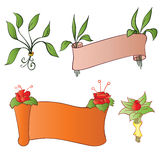 Flowers and banners. With leafs vector illustration