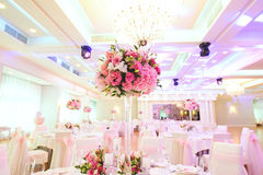 Flowers at Banquet Hall Stock Photography