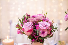 Flowers on Banquet table Royalty Free Stock Photo