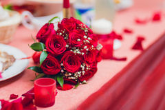 Flowers on Banquet table Stock Images