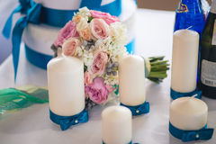 Flowers on Banquet table Stock Image