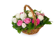 Flowers in the basket. Isolated on white Royalty Free Stock Image