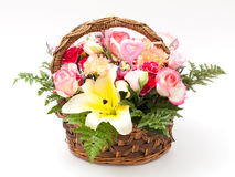 Flowers in basket. Various flower in basket on white background Stock Photography