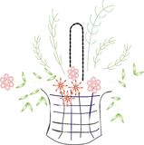 Flowers and basket Stock Images