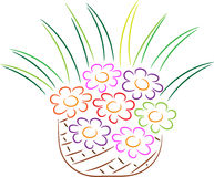 Flowers in basket Stock Photos