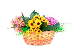 Flowers in basket. Colorful fabric flowers in wicker basket isolated on white background Stock Photo