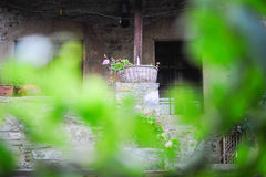 Flowers in basket. Entrence of a house in old Datca Turkey with flowers in basket Stock Images