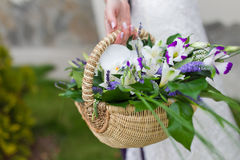 Flowers in basket Stock Photo