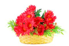 Flowers in basket. Red fabric flowers in wicker basket isolated on white background Stock Photography