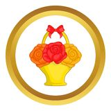 Flowers in basket vector icon. In golden circle, cartoon style isolated on white background Royalty Free Stock Image