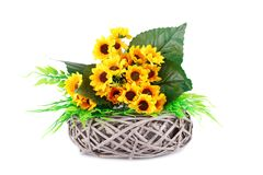 Flowers in basket. Yellow fabric flowers in wicker basket  on white background Stock Image