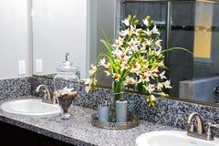 Flowers & Bathroom Items. Flower & Lotions In Modern Bathroom Stock Images