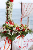 Flowers at beach wedding stock images