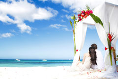 With flowers on beach Stock Photos