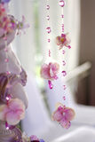 Flowers and beads curtain decorative for wedding Stock Photos