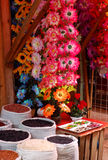 Flowers and Beans. For Sale in a market in Chiapas, Mexico Stock Images