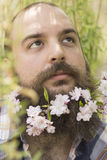 Flowers Bearded Man Royalty Free Stock Photos