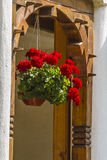Flowers. Beautiful balcony with flower in monastery ramet Royalty Free Stock Image