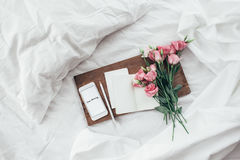 Flowers in bed, good morning concept. Royalty Free Stock Images