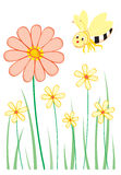 Flowers & bee. Big and small flowers with smiling bee beside it royalty free illustration