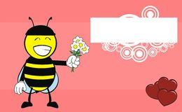 Flowers Bee catoon expression background Stock Photo