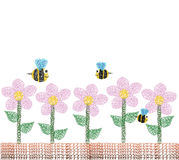 Flowers and bee in the garden. EPS10 available for buyer who want to change color and resize Royalty Free Stock Photos