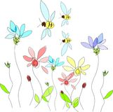 Flowers and bee Royalty Free Stock Photos