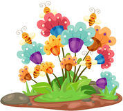 Flowers with bees. Illustration of isolated lovely flowers with bees stock illustration